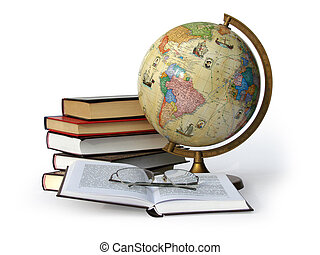 globo, libros, anteojos
