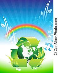 globo, ligado, arco íris, conservação ambiental, fundo