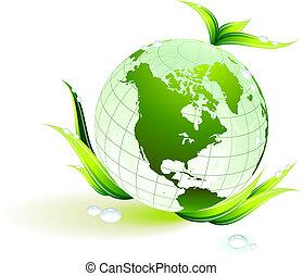 globo, ligado, verde, conservação ambiental, fundo