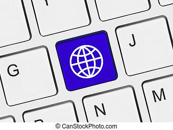 globo, llave computadora, teclado