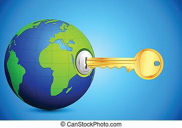globo, llave, entrar