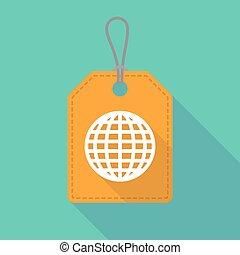 globo, lungo, etichetta, mondo, uggia, icona