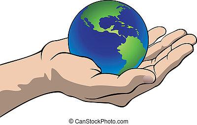 globo, mão