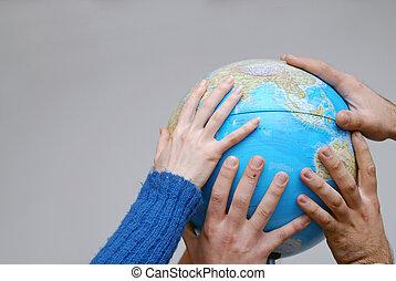 globo, mãos, teamwok, conceito