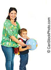 globo, madre, presa a terra, scolaro