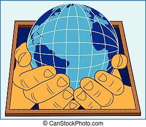 globo, mani umane