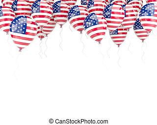 globo, marco, con, bandera, de, los estados unidos de...