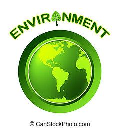 globo, meio ambiente, representa, ir, verde, e, terra