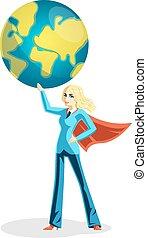 globo mondo, affari donna, presa a terra