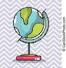 globo mondo, arte, pixel
