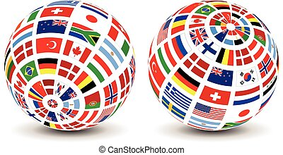 globo mondo, bandiere