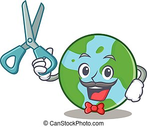 globo mondo, barbiere, cartone animato, carattere