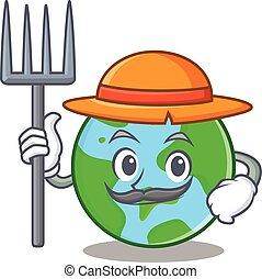 globo mondo, carattere, cartone animato, contadino