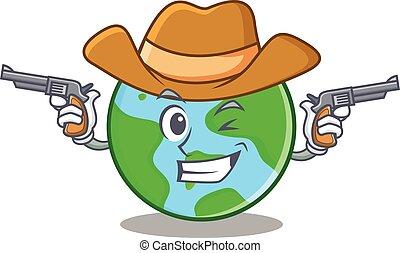 globo mondo, carattere, cartone animato, cowboy