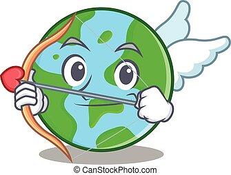 globo mondo, carattere, cartone animato, cupido