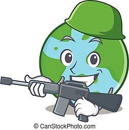 globo mondo, carattere, cartone animato, esercito