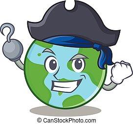 globo mondo, carattere, pirata, cartone animato