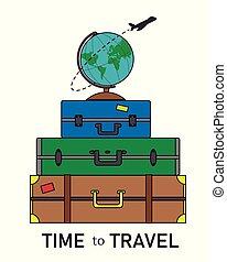 globo mondo, card., vacanza, valigie