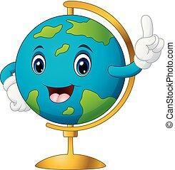 globo mondo, cartone animato, indicare