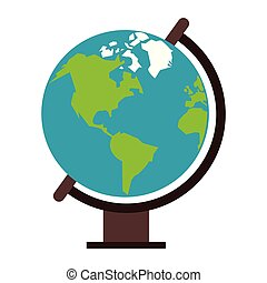 globo mondo, cartone animato, isolato