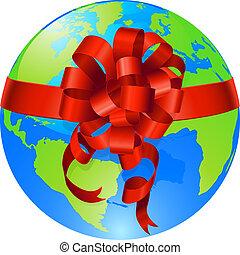 globo mondo, concetto, arco regalo