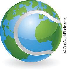globo mondo, concetto, palla, tennis