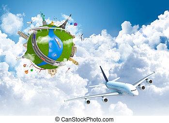 globo mondo, concetto, sogno, viaggiare