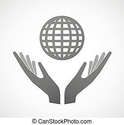 globo mondo, due, offerta, mani