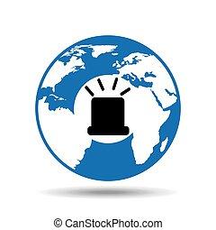 globo mondo, icona, alarmdesign, allarme