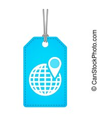 globo mondo, icona, isolato, etichetta