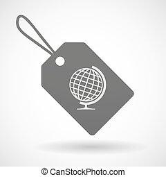 globo mondo, icona, shopping, etichetta