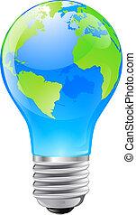 globo mondo, lampadina, concetto