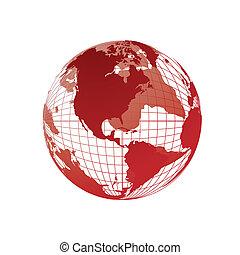 globo mondo, mappa, 3d