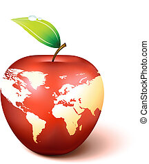 globo mondo, mela, mappa