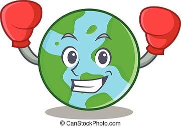 globo mondo, pugilato, carattere, cartone animato