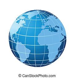 globo, mostrando, americas, áfrica, e, europa