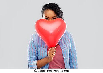globo, mujer, en forma de corazón, norteamericano, africano