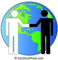 globo, multi-cultural, apretón de manos