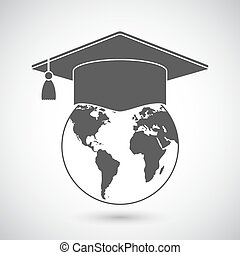 globo mundial, boné, graduação, ícone