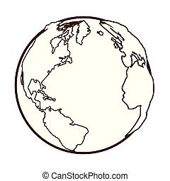 globo mundial, caricatura, mapa