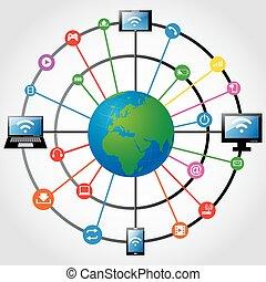globo mundial, com, app, ícone
