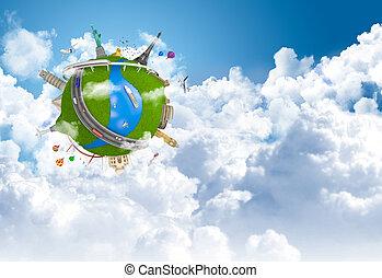 globo mundial, conceito, sonho, viajando
