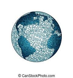globo mundial, feito, de, social, mídia, ícones