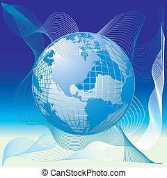 globo mundial, mapa, 3d