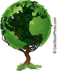 globo, mundo, árbol, concepto