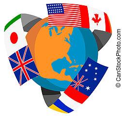 globo, mundo, bandeiras, retro