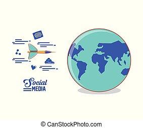 globo, mundo, com, dardo, e, social, mídia, jogo, ícones