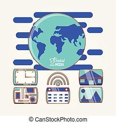 globo, mundo, con, social, medios, conjunto, iconos