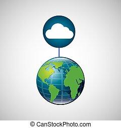 globo, mundo, nuvem, conexão, serviço