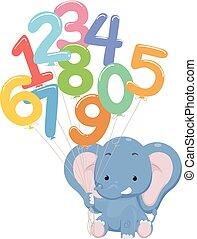 globo, números, ilustración, elefante
